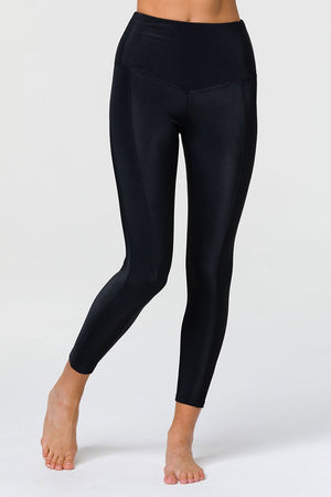 High Rise Legging - Sweetheart Midi Black Ribbed - Onzie Flow