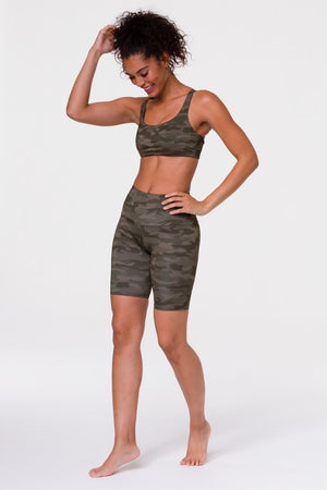 High Rise Biker Shorts - Moss Camo - Onzie Flow