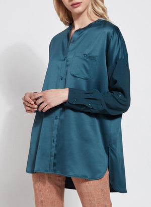 Kat Button Down Peacock Blouse - Lysse New York