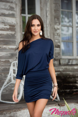 Off Shoulder Navy Dress  - Mapale Resortwear