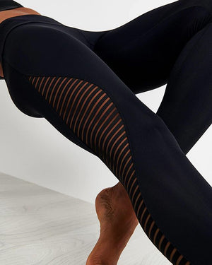 High Rise Legging - Black Stripe Mesh Shape Midi - Onzie Flow