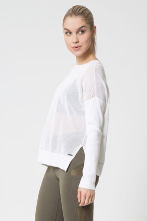 Peekaboo Open Back Knit Top White - MPG Sport - My Legwear Shop