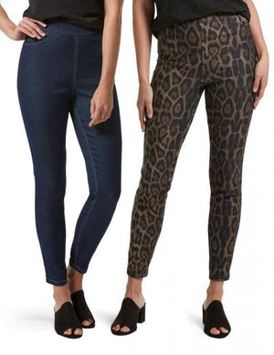 HUE Reversible High Waist Denim Skimmer Animal Print