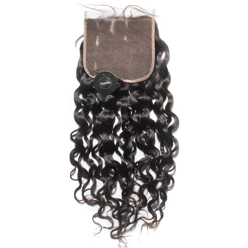 6x6inch water wave transparent lace unprocessed human hair lace closure 8-20inch