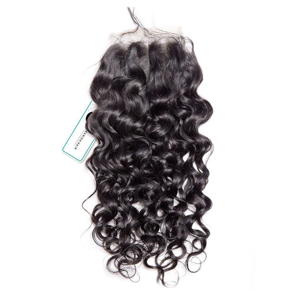 Beautiful water wave virgin unprocessed human hair lace closure 4x4inch premium closure