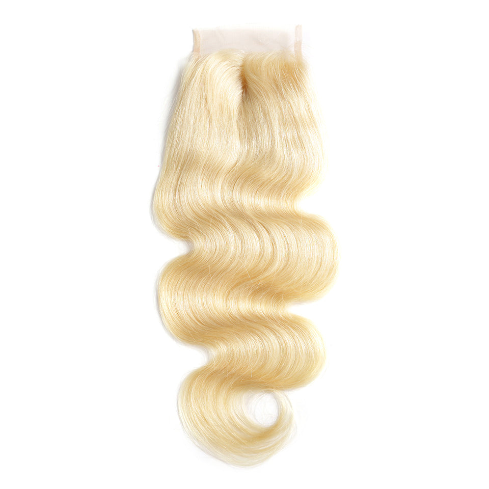 Blonde color body wave lace closure #613 European blonde hair 4×4inch closure