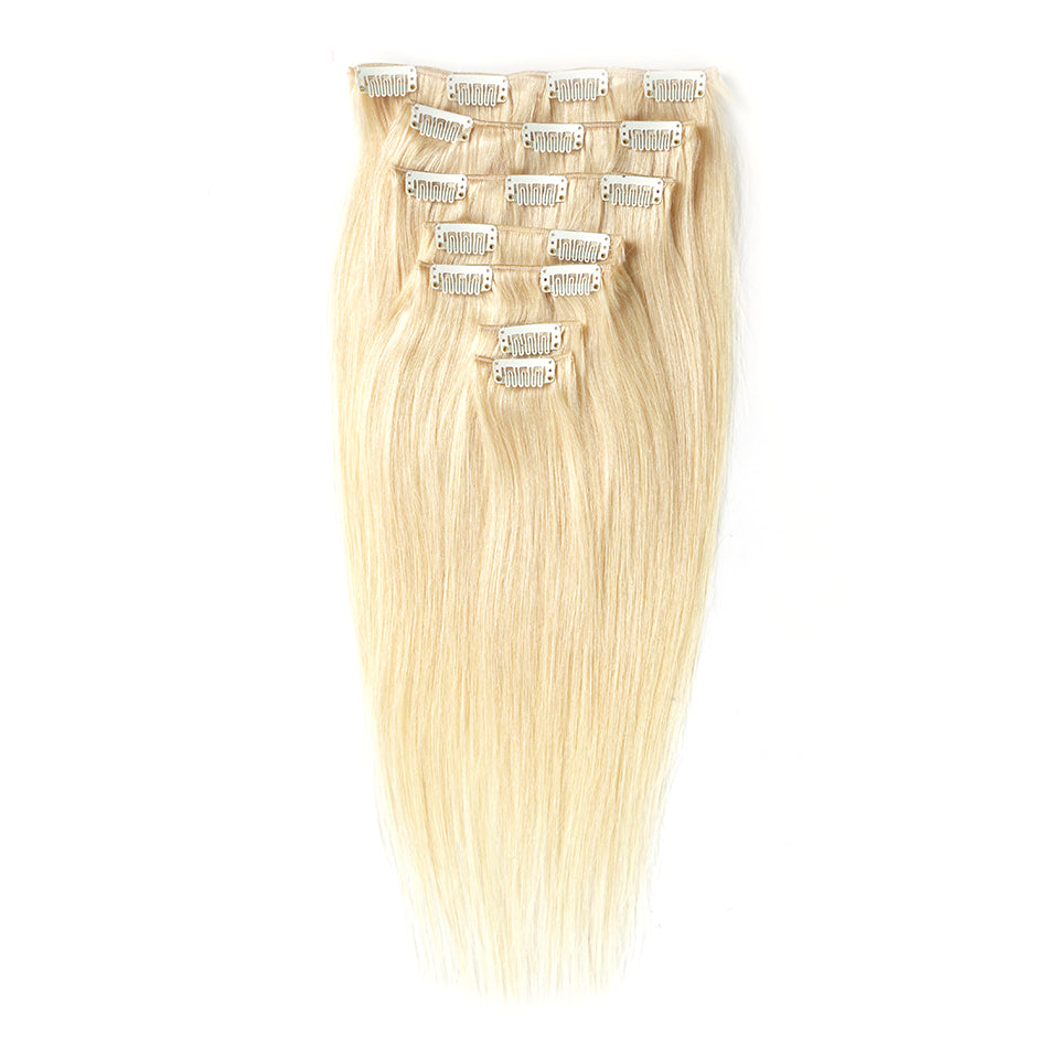 Blonde #613 clip in extensions straight hair piece 100% human hair extensions