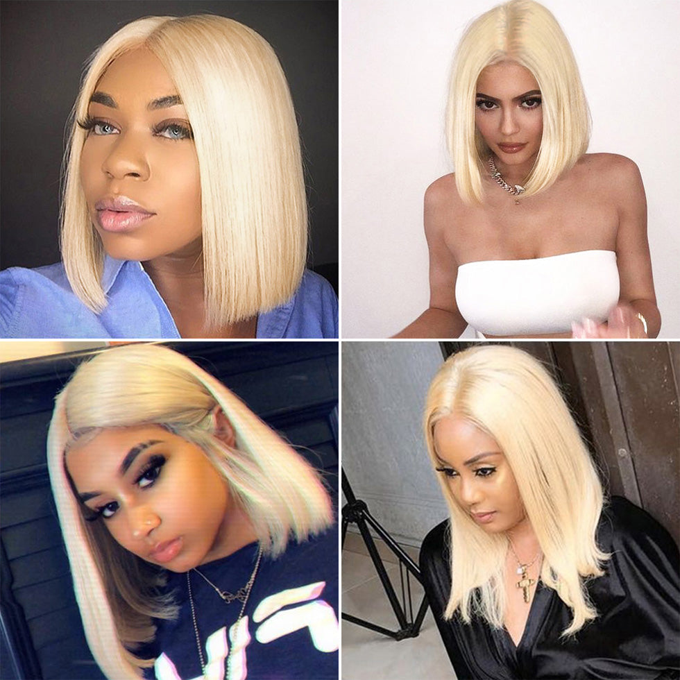 Blonde straight #613 BOB front lace human hair wigs natural hair line pre plucked
