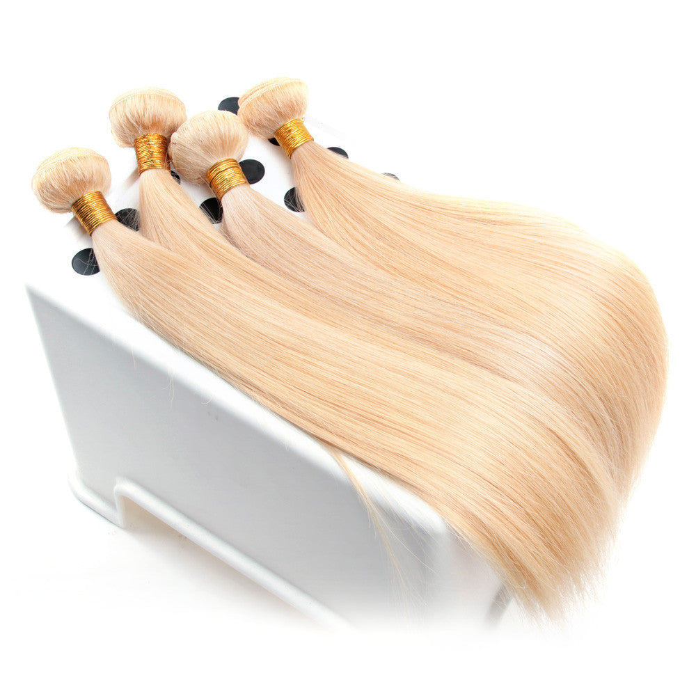 4Bundles Blonde body wave straight European #613 color hair weave