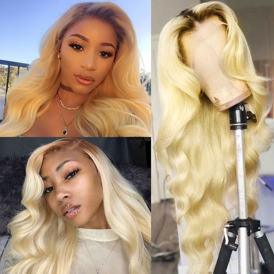 Customized blonde lace wig body wave lace frontal 13X4 or closure wig premium quality
