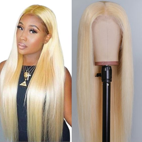 Blonde lace frontal and lace closure wig straight #613 top quality human hair lace wig
