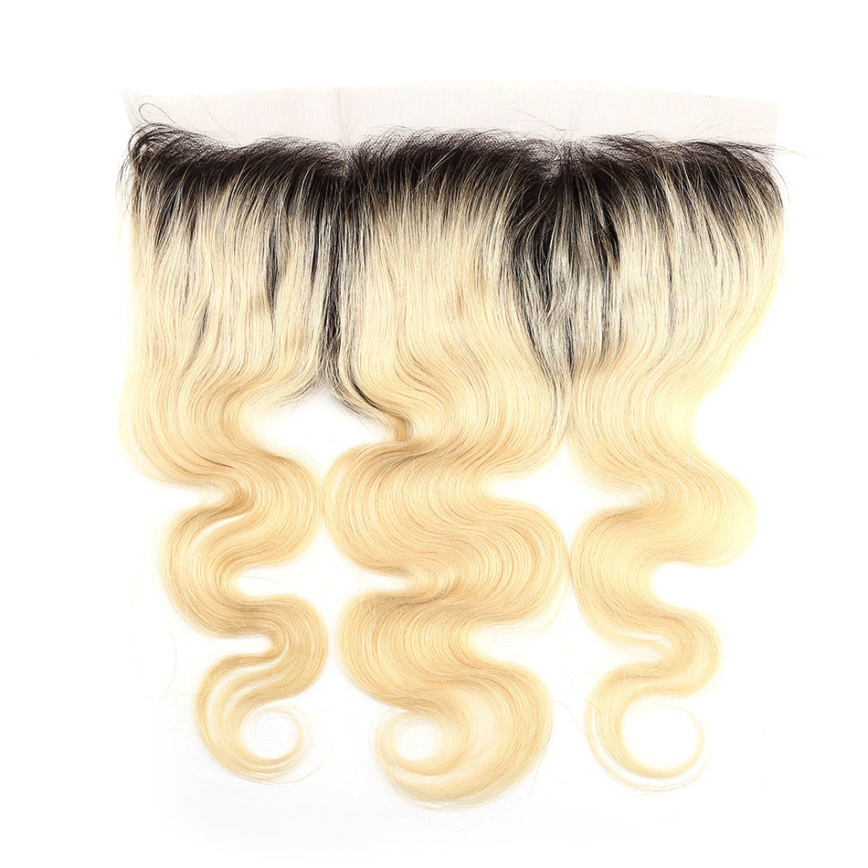Blonde frontal 13x4inch with dark root 613 color body wave lace frontal blonde