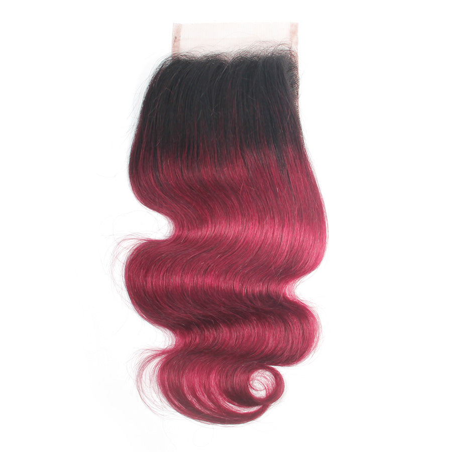 Burgundy Ombre body wave 1B/#530 lace closure human hair ombre closure
