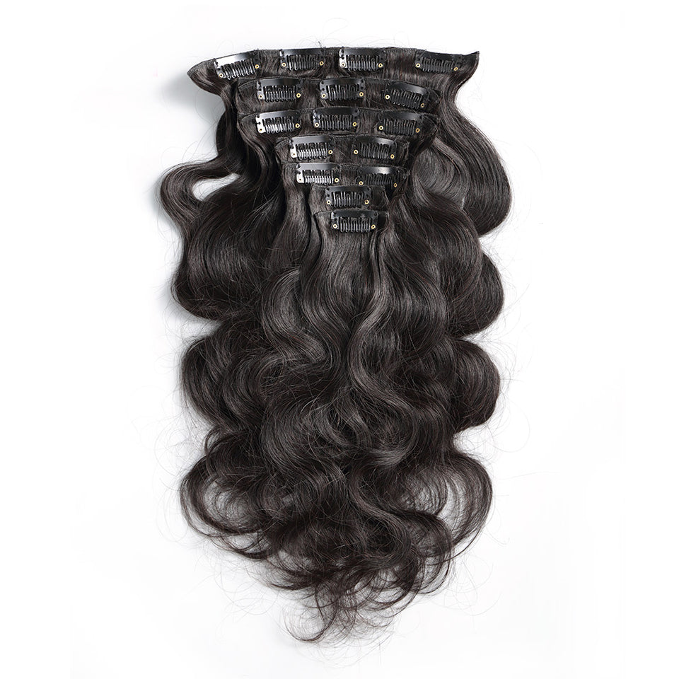 Body wave clip in extensions human hair 7Piece/Set 100g natural color extensions