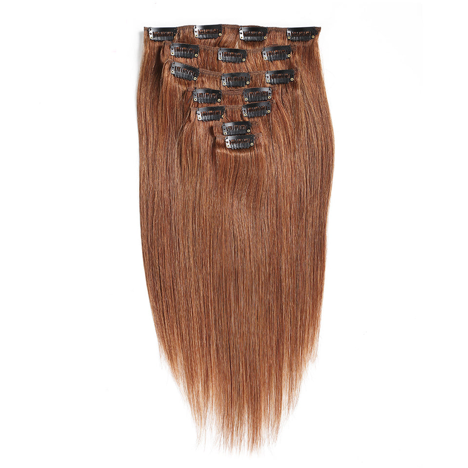 Color #4 light brown clip in extensions straight brazilian human hair 7Piece/100g