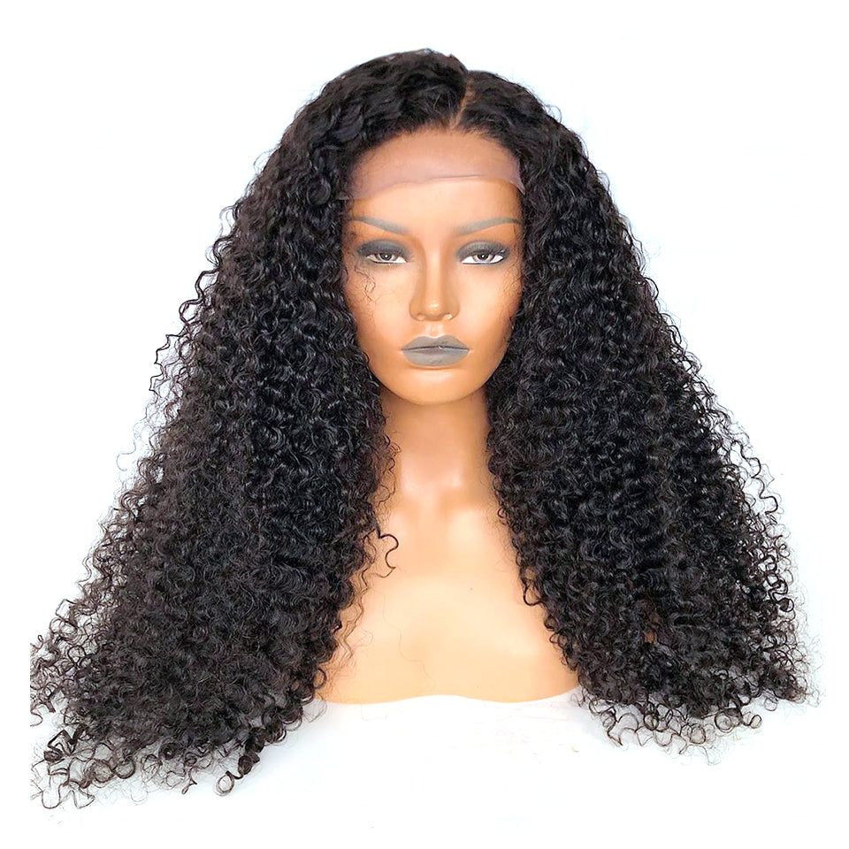 Curly hair lace wig customized closure or frontal wig human hair high density