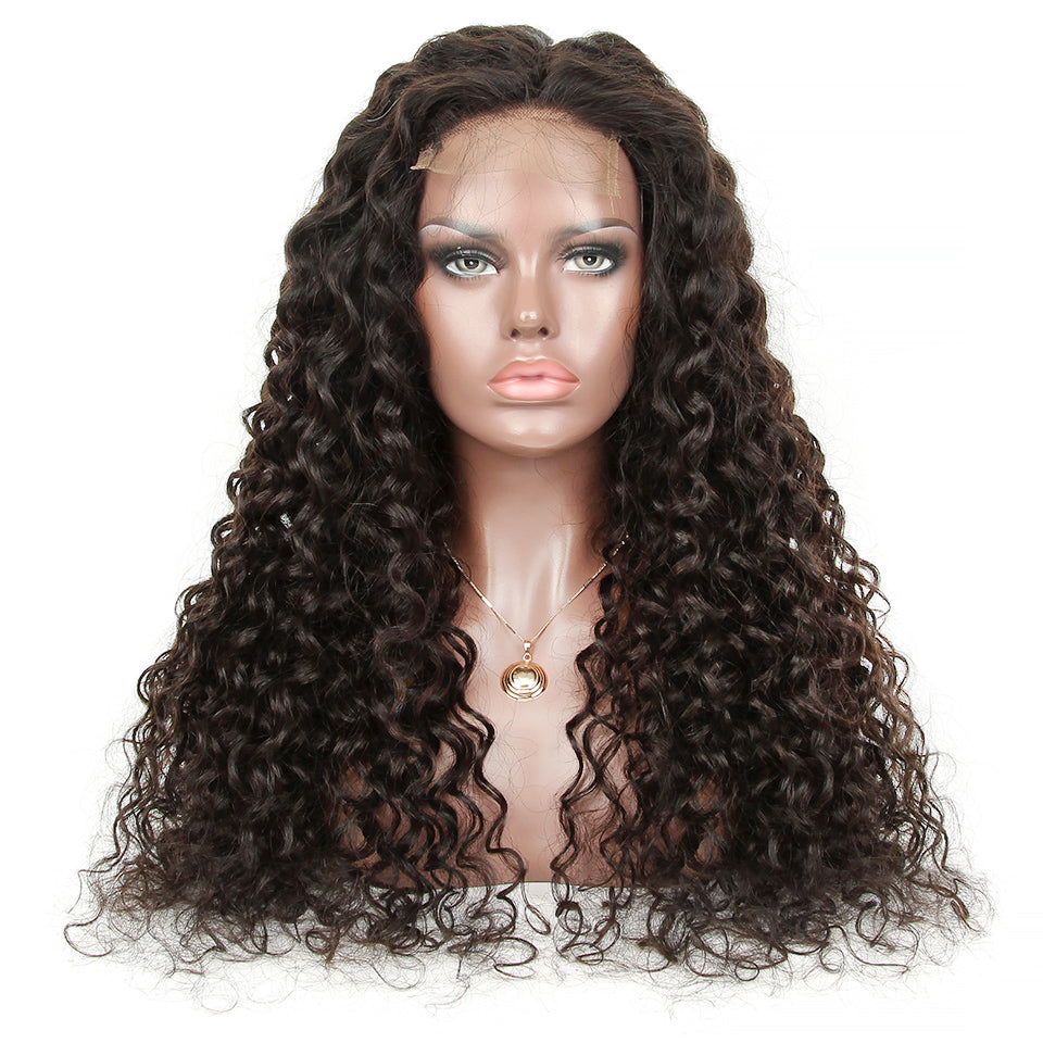 Customized lace wig water wave closure or frontal wigs high density natural color