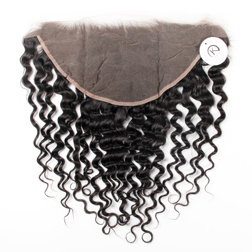Deep wave lace frontal 13×6 brazilian human virgin hair frontal natural color