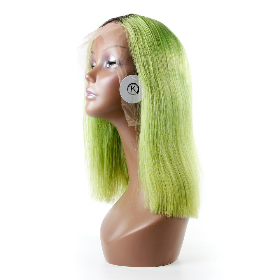 Front lace wigs ombre color 1b/green dark root human hair frontal wigs straight