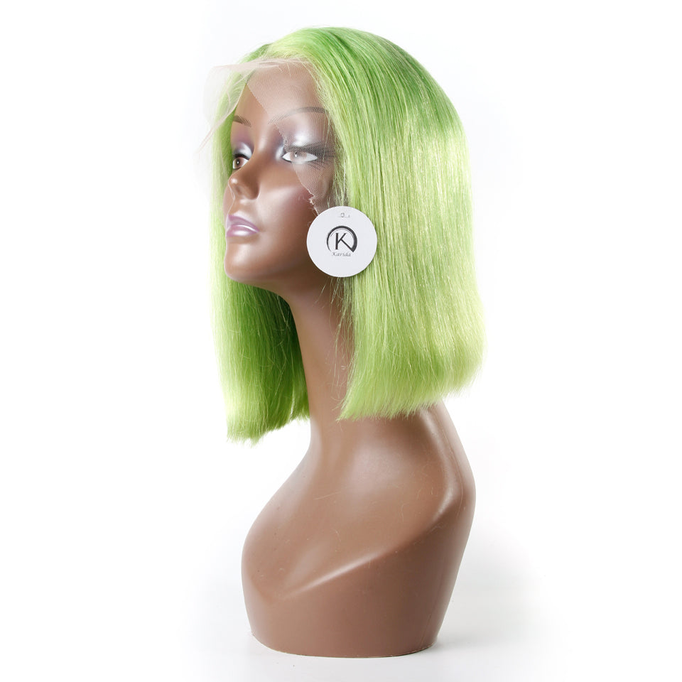 Green lace wigs short BOB front lace wigs straight human hair 180% density