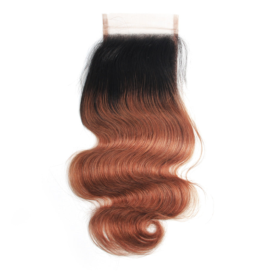 Human hair lace closure ombre color dark brown body wave 1b/#30 ombre closure