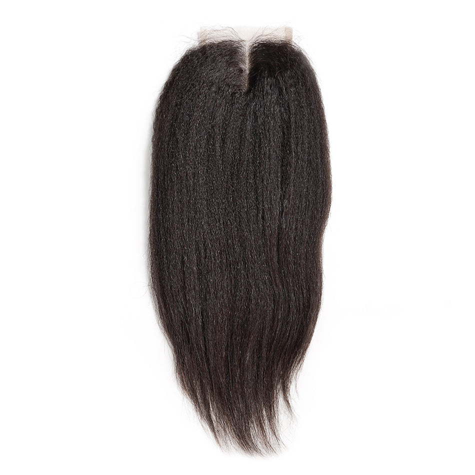 Kinky straight human hair lace closure bleached knot natural hair line with baby hair
