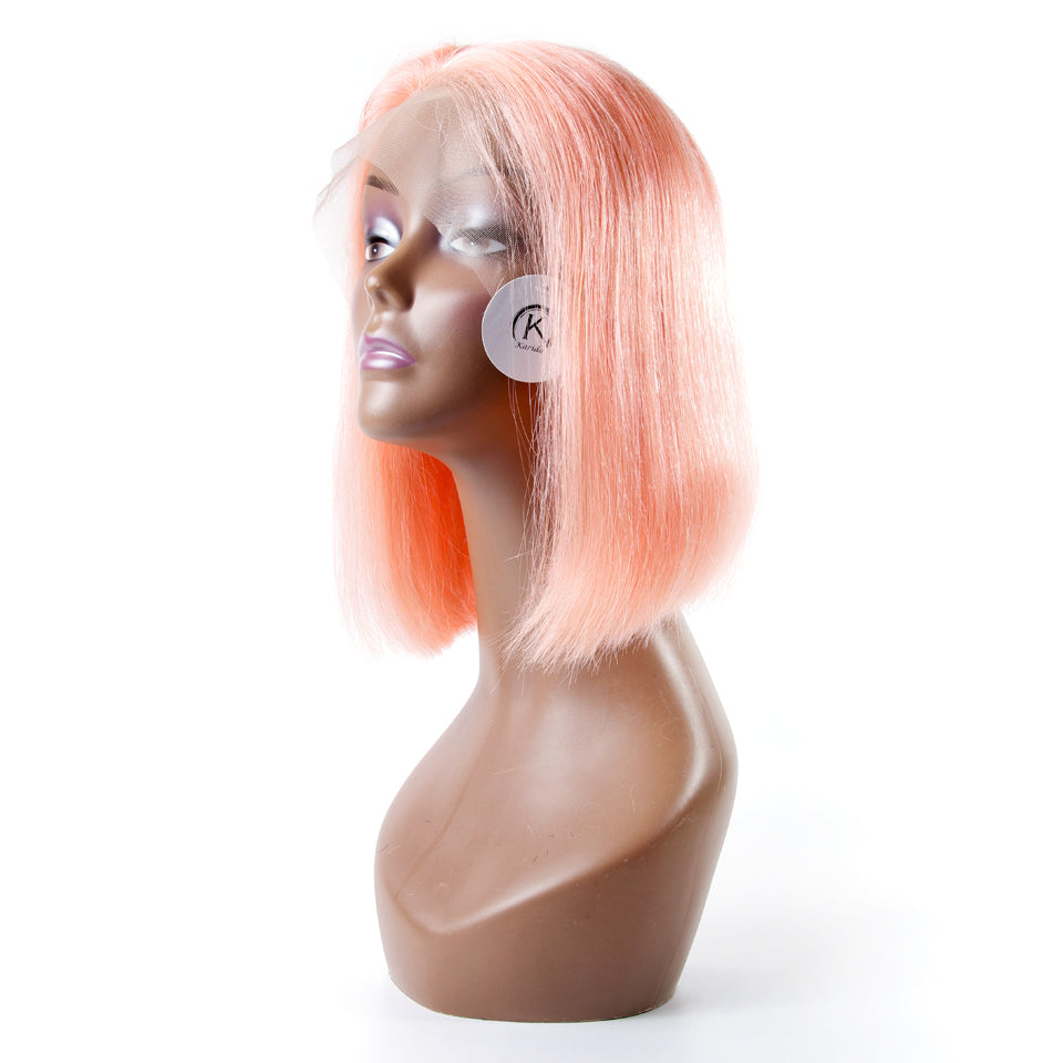 Human hair lace wigs pink color BOB short brazilian front lace wigs transparent lace
