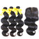 Hair bundles with closure body wave 3/4 bundles with a closure Karida