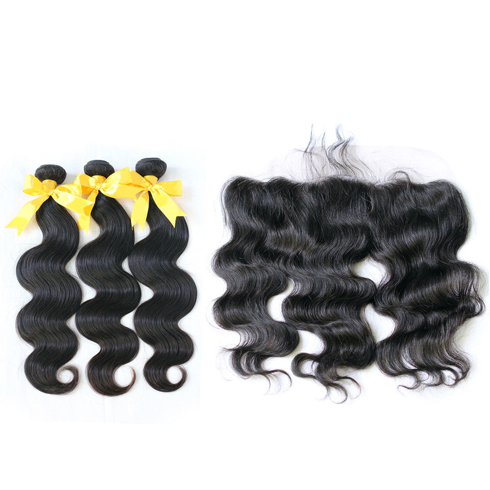 Virgin body wave hair bundles with frontal 3bundles with frontal bundles set