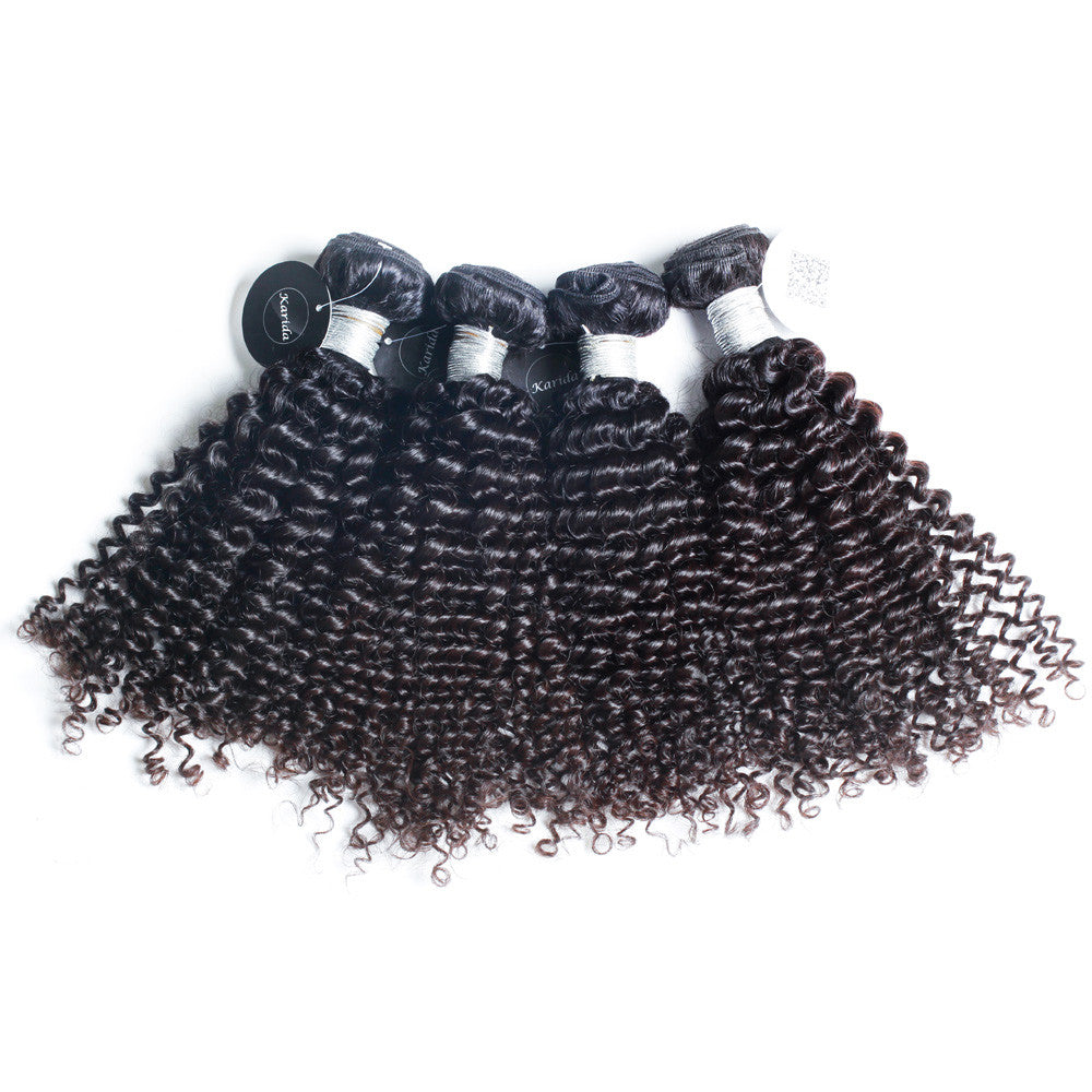 4Bundles Kinky curly virgin peruvian brazilian hair bundles Karida hair