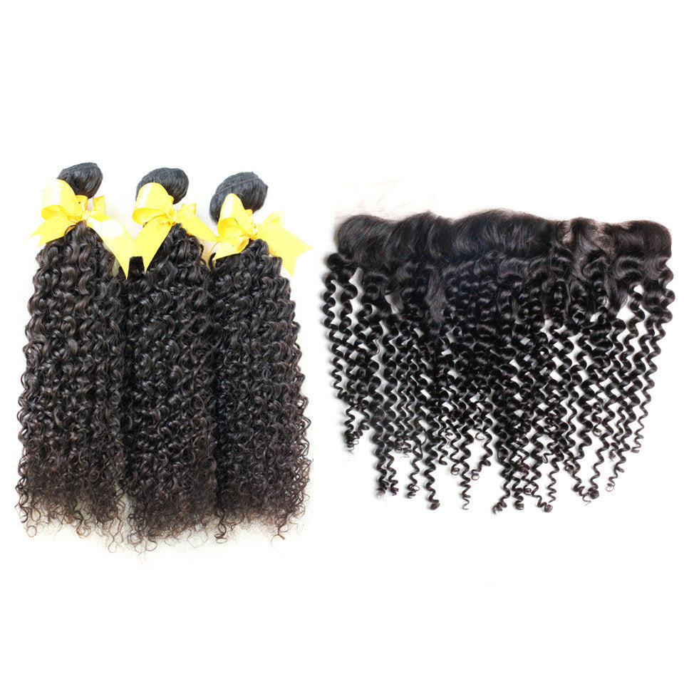 Curly hair 3bundle with brazilian peruvian lace front closure 13x4inch