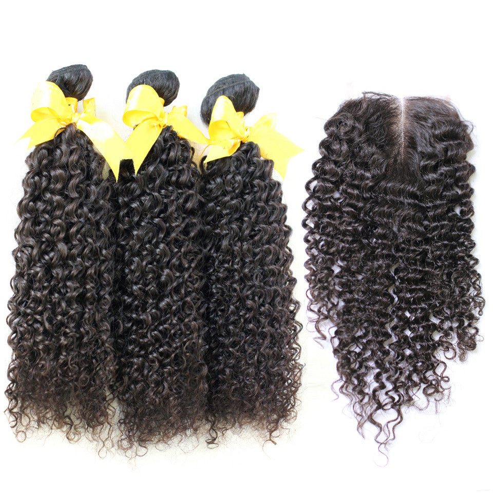 Curly virgin human hair with closure set 3/4 bundles with closure free shipping