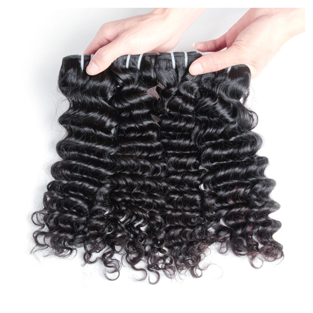 4Bundles natural color indian 100% human hair deep wave unprocessed