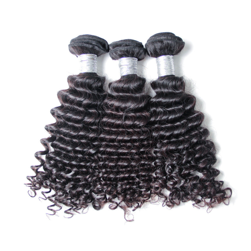 3Bundle deep wave peruvian virgin hair weave natural virgin human hair