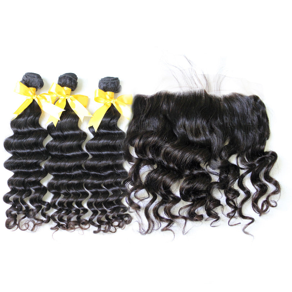 Virgin hair bundles with lace frontal 3bundles natural wave with frontal