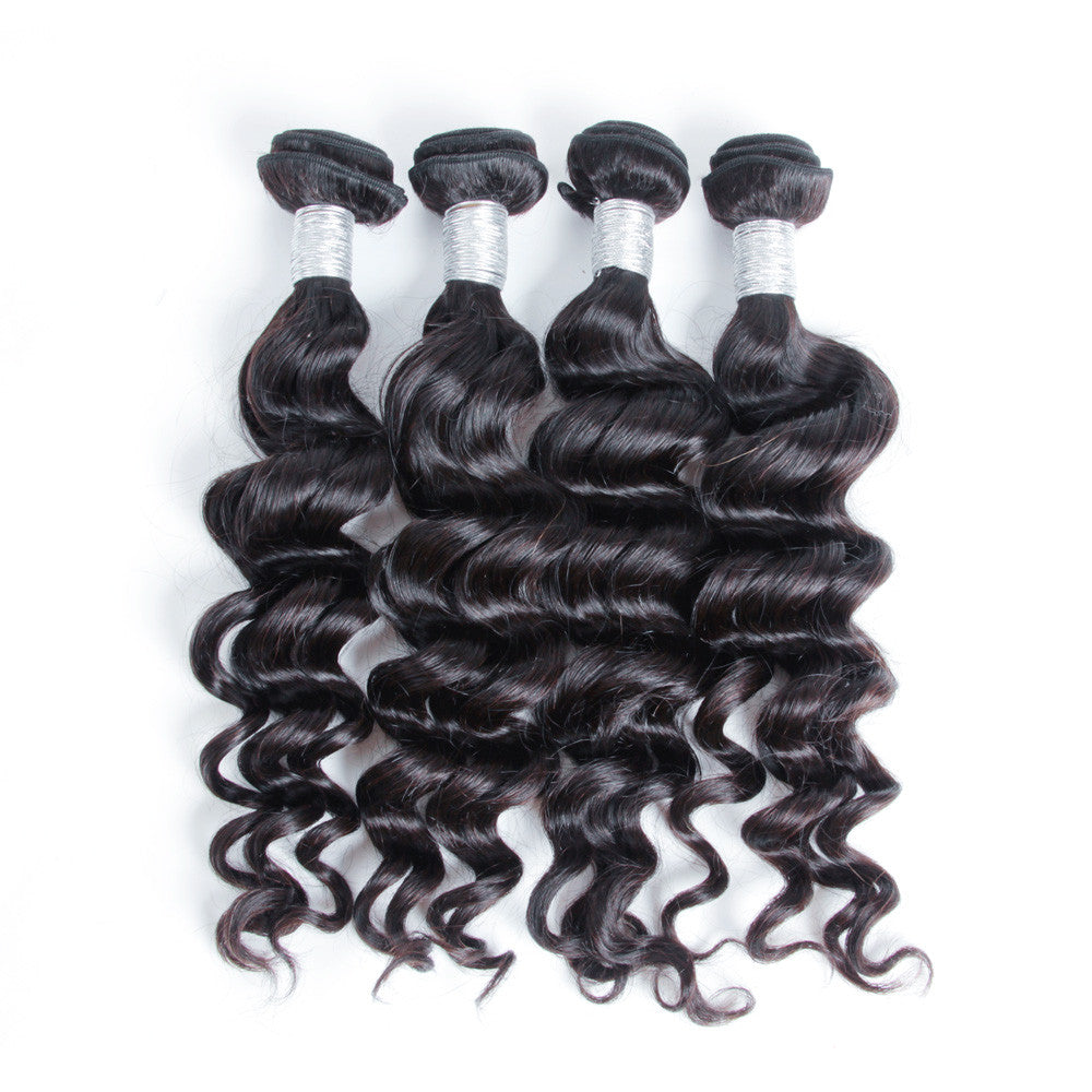 4Bundles virgin peruvian hair extension natural wave Karida hair double weft