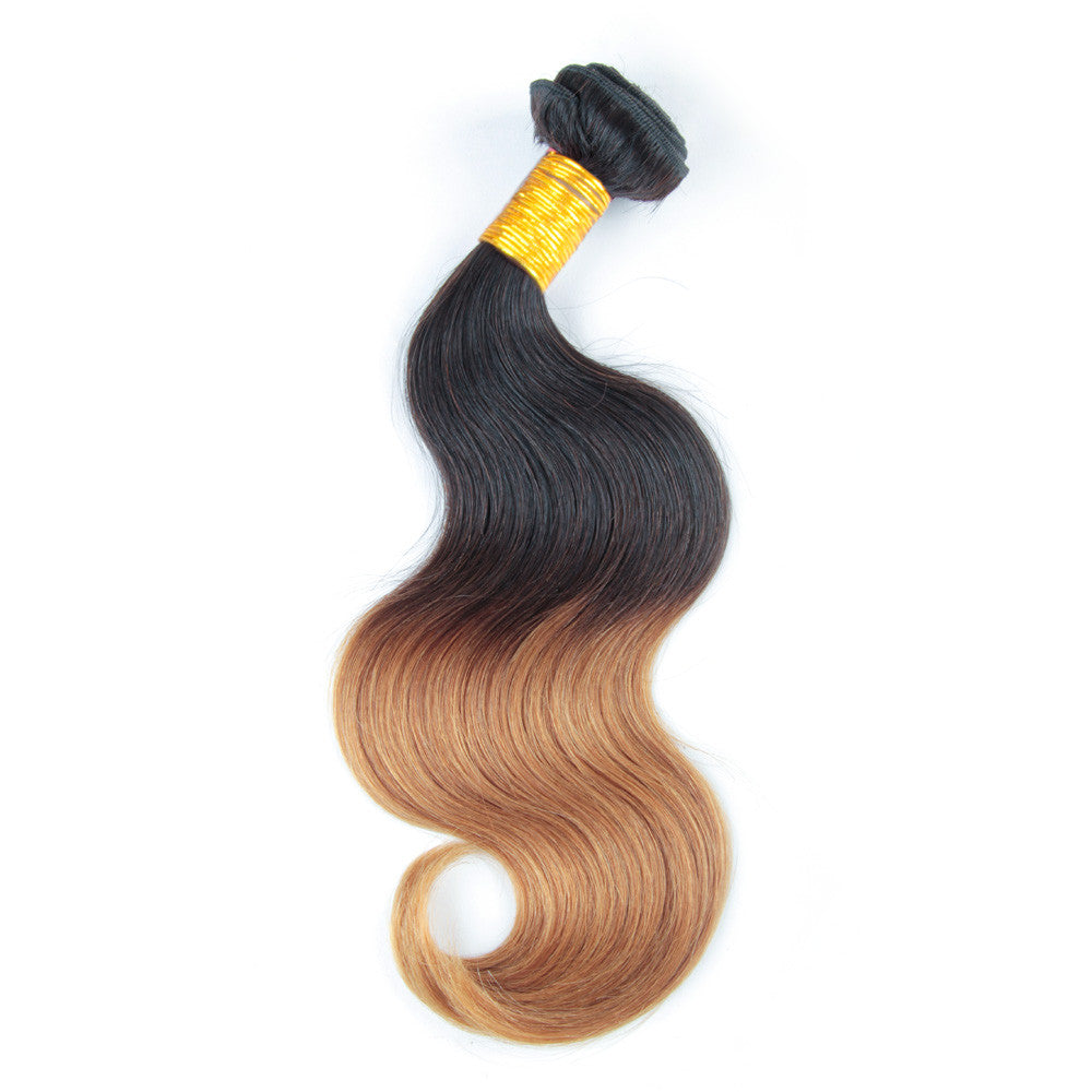 Ombre body wave blonde hair human ombre hair weaves 1b/#27 color