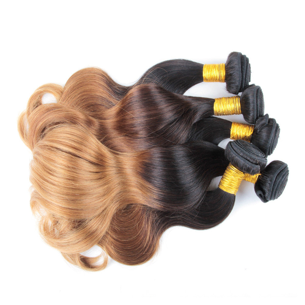 4Bundles ombre colored blonde #27 brazilian hair weave body wave