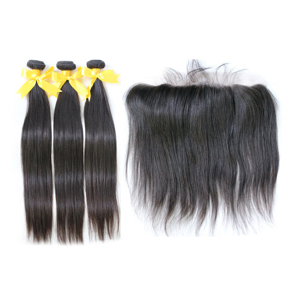 Virgin straight hair bundles with lace frontal 13x4inch brazilian peruvian