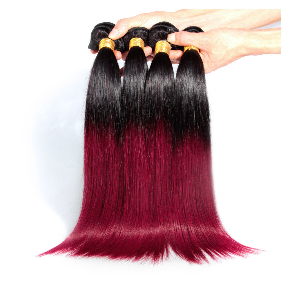 4Bundles straight brazilian ombre Burgundy #530 colored hair weave