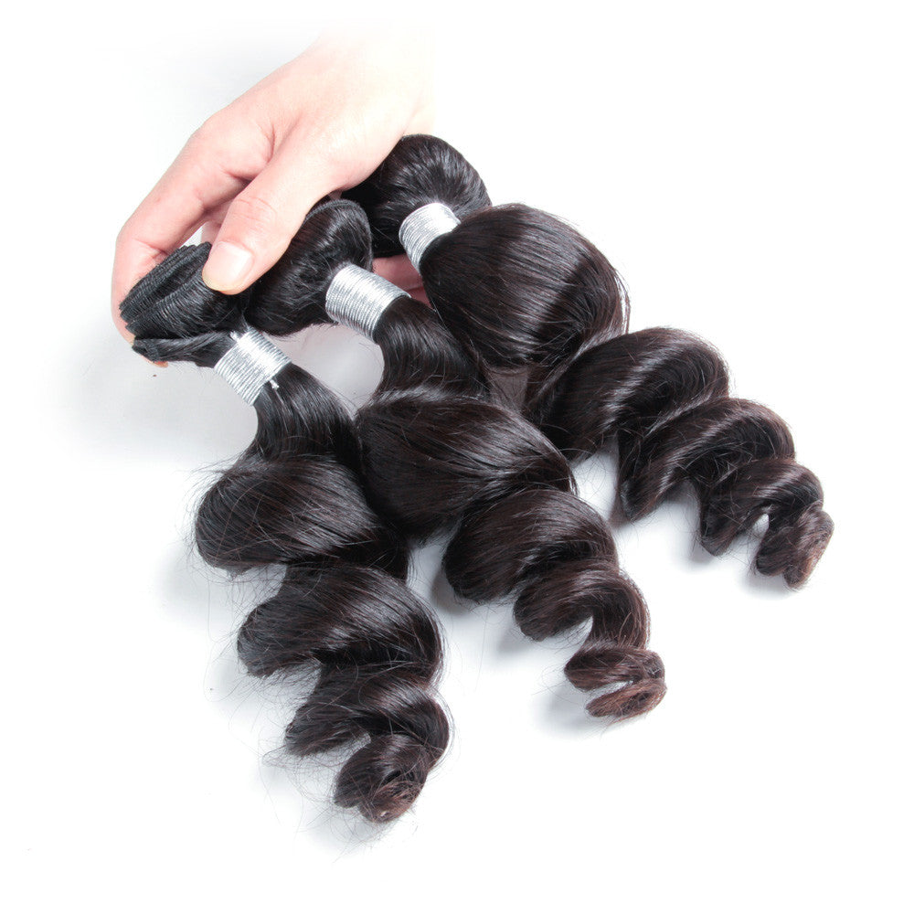 3bundles peruvian human hair weave loose wave natural color 10-30inch
