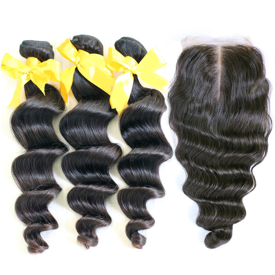 Loose wave 3/4 bundles with a closure brazilian loose wave with closure