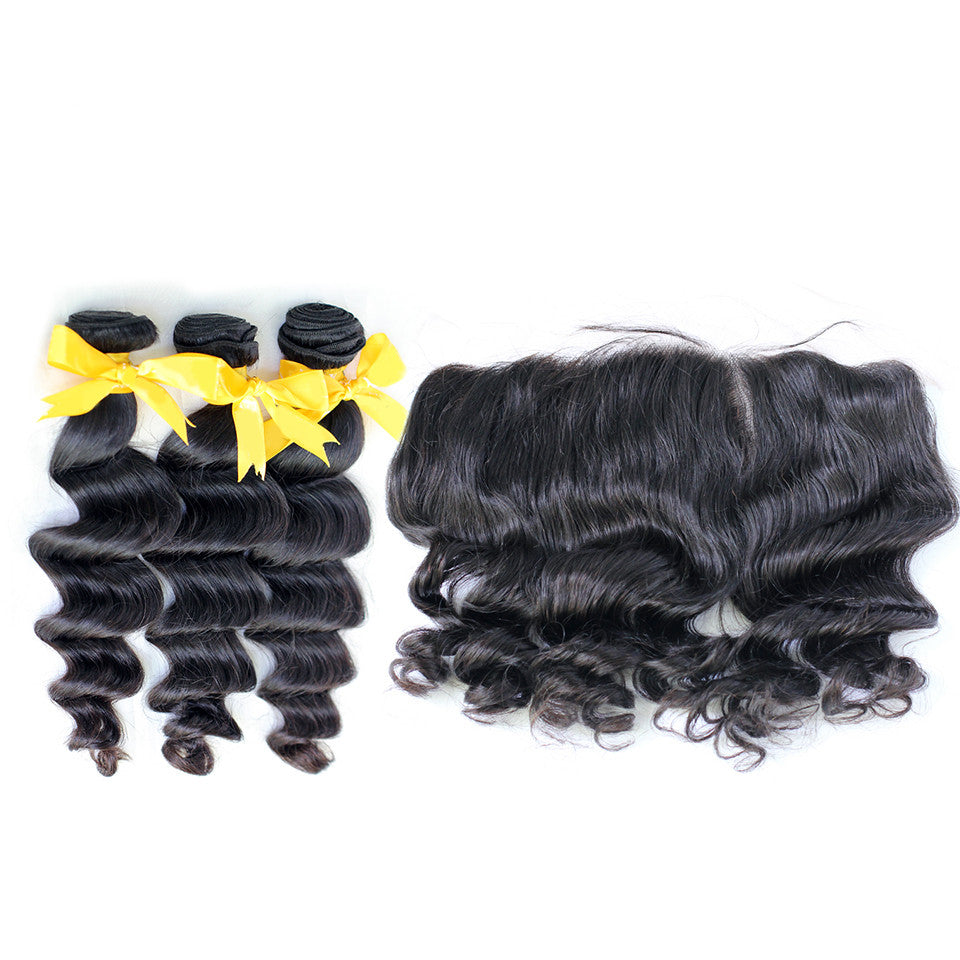 Loose wave brazilian virgin hair 3bundles with lace frontal 13x4inch