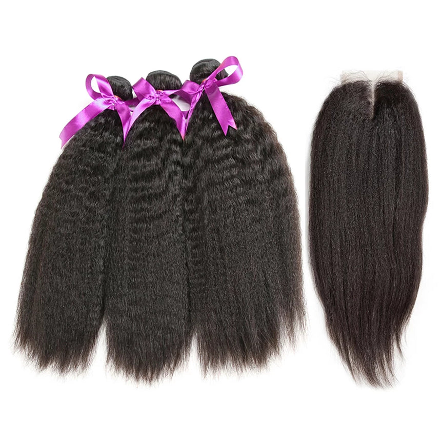 Human hair bundles set 3/4 budnels with closure kinky straight unprocessed virgin hair