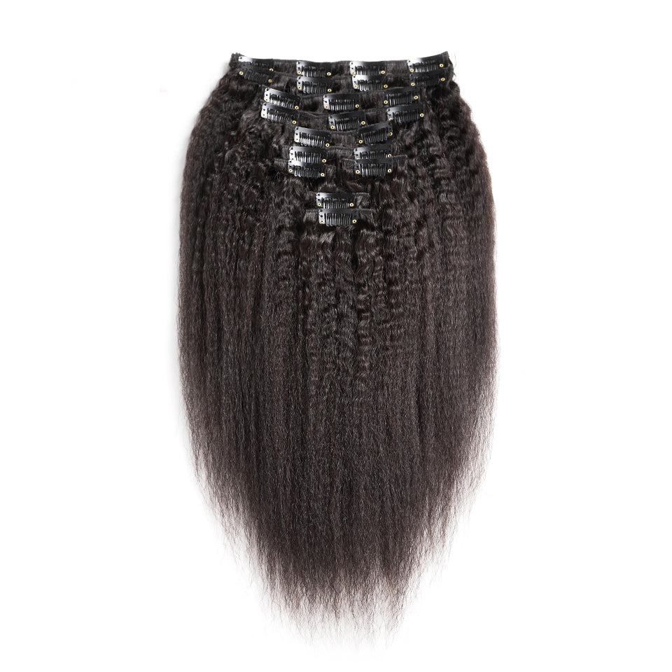 Kinky straight clip in extensions 140g brazilian virgin human hair 10piece/set