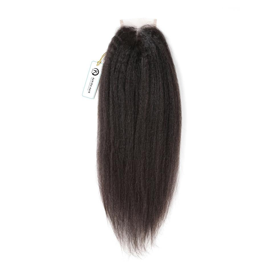 Kinky straight lace closure 4x4inch premiun top grade closure 8-20inch pre-plucked