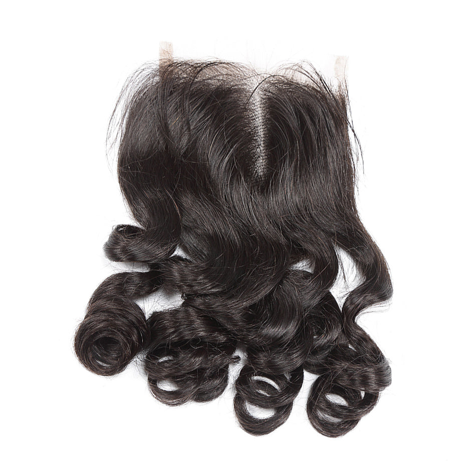 Loose wave lace closure brazilian peruvian 4x4 virgin hair closure shedding free