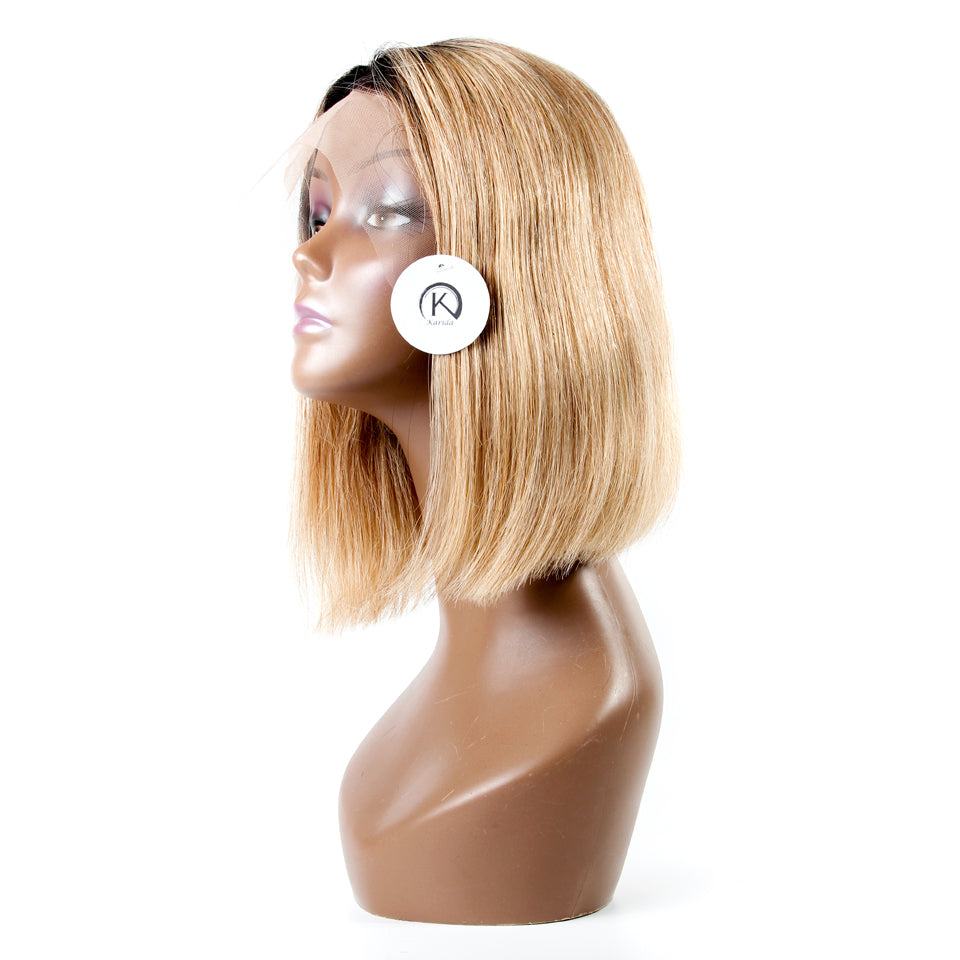Ombre #27 short bob lace front human hair straight wigs natural hair line pre-plucked