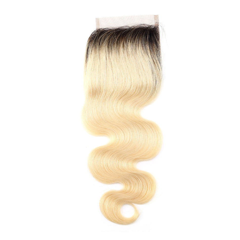 Ombre blonde body wave dark root lace closure 1B/#613 closure human hair
