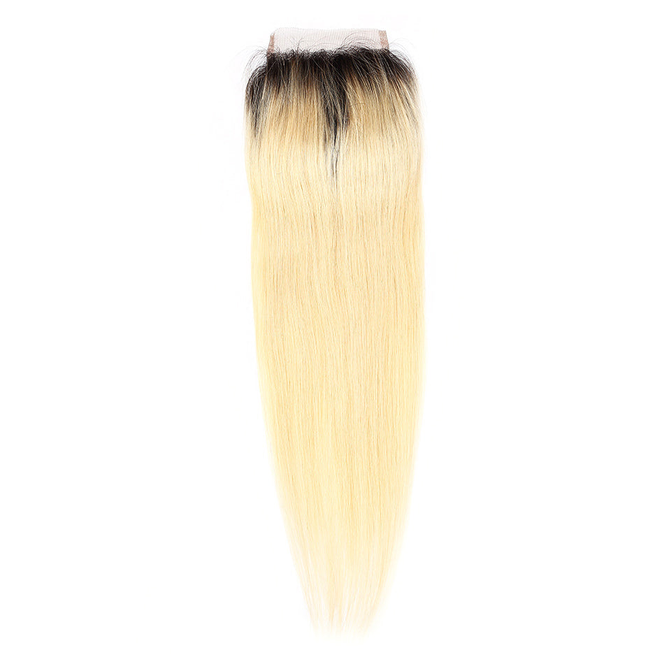 Blonde lace closure straight dark root 1B/#613 color 4×4 blonde straight closure